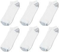Hanes CL90 Men's No Show Socks Shoe Size 6-12 - 6 pairs - White - Grey Toe/Heel CL90