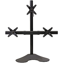 Ergotech 100 D28 B12 Triple LCD Monitor Desk Stand 28 inch pole Black Triple 1 over 2