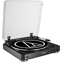 Audio Technica AT LP60BK USB Fully Automatic Belt Drive Stereo Turntable USB Analog Belt Drive Automatic 45 33.33 rpm Black
