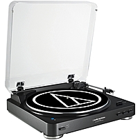Audio Technica Fully Automatic Wireless Belt Drive Stereo Turntable Belt Drive Automatic 33.33 45 rpm Black AT LP60BK BT