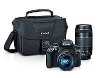 Canon 1159C008 EOS Rebel T6 Digital SLR Camera Kit with EF-S 18-55mm and EF 75-300mm Zoom Lenses - 3-inch LCD Display - Black - 100EOS Shoulder Bag with Strap