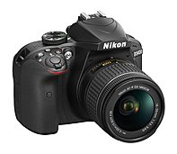 Nikon 1571 D3400 24.2 Megapixel Digital SLR Camera with Lens - 18 mm - 55 mm - Black - 3' LCD - 16:9 - 3.1x Optical Zoom - Optical (IS) - TTL - 6000 x 4000 Image - 1920 x 1080 Video - HDMI - HD Movie