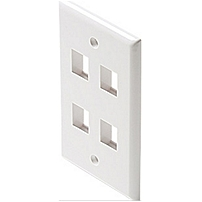 Steren Keystone Wall Plate - 4 x Total Number of Socket(s) - White