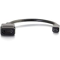 C2G 8in Micro HDMI to HDMI Adapter - Micro HDMI Adapter - Male to Female Black - HDMI/Micro HDMI for Audio/Video Device - 1 x HDMI (Micro Type D) Male Digital Audio/Video - 1 x HDMI Female Digital Aud