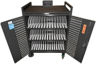 Bretford NETBOOK42-PUSD 42 Slot Netbook Cart - 3 x Power Strips - 4 Wheels - Front and Back Door Access - Gray