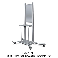 Balt Wall Mount Mobile Stand - 1 x Shelf(ves) - 74' Height x 58' Width x 30.3' Depth - Steel - Platinum