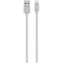 Belkin Metallic Lightning to USB Cable - Lightning/USB for iPad, iPod, iPhone, Notebook - 3.94 ft - 1 x Type A Male USB - 1 x Lightning Male Proprietary Connector - MFI - Silver