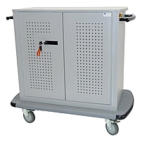 Datamation Systems Networked 16 Module SafeHarbor Notebook PC Security Cart - 5' Caster Size - Steel - 47' Width x 26' Depth x 41' Height