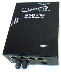Transition Networks S4TEF1011-100 Copper to Fiber Transport Mux Stand-Alone Media Converter - T1/E1 - ST Duplex, RJ-4, mini-DIN Serial - 2 Kilometer