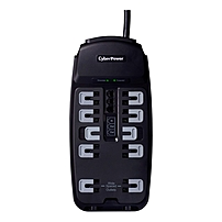 CSP1008T Professional 10-Outlets Surge Suppressor 8FT Cord and TEL - 10 x NEMA 5-15R - 2850J - 125V AC Input - 125V AC Output