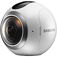 Samsung Gear 360 Digital Camcorder - 0.5' OLED - CMOS - 4K - 16:9 - MP4, H.265 - 1 GB Flash Memory - USB - microSD - Memory Card