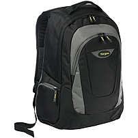Targus Trek Carrying Case (Backpack) for 16' Notebook, File Folder, Books, School Stationery, Cellular Phone, Business Card, Accessories - Black, Yellow, White Accent - Polyester - Shoulder Strap - 18