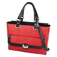 Madison Francine Collection Carrying Case for 15.6' Notebook - Black, Red - MicroFiber, Leather - Shoulder Strap - 12.5' Height x 17' Width x 6.5' Depth