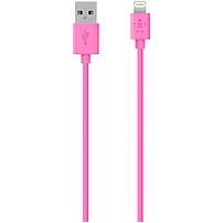 Belkin Lightning to USB ChargeSync Cable - Lightning/USB for iPad, iPod, iPhone, Notebook - 4 ft - 1 x Type A Male USB - 1 x Lightning Male Proprietary Connector - Pink