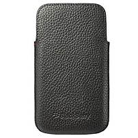 BlackBerry Carrying Case (Pouch) for Smartphone - Black - Bump Resistant Interior, Scratch Resistant Interior - Genuine Leather