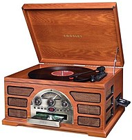 Image of Crosley CR66D-PA Rochester 5-in-1 Turntable Entertainment Center - Paprika