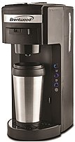 Brentwood TS-114 K-Cup Single Serve Coffee Maker with Travel Mug - Black, Silver TS-114