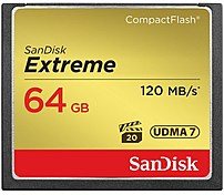 Image of SanDisk SDCFXS-064G-A46 64 GB Extreme CompactFlash Memory Card