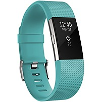Fitbit Charge 2 Activity Tracker + Heart Rate, Teal/Silver, Large, Green