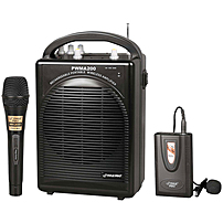 Image of PylePro Rechargeable Portable PA System with Wireless Lavalier/Headset MIC and 1 Wired Mic - 80 W Amplifier - Built-in Amplifier - Black PWMA200
