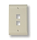TE Connectivity 2111022-1 2-Port Face Plate - Vertical - Single Gang - Almond