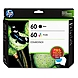 HP 60 Ink Cartridge Content Value Pack - Tri-color, Black - Inkjet - 165 Page Tri-color, 200 Page Black - 2 / Pack