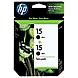 HP 15 2-pack Black Original Ink Cartridges - Inkjet - 500 Page - 2 / Pack