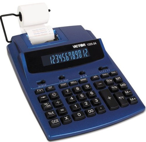 Victor Technology VCT12253A AntiMicrobial Two-Color Printing Calculator - 12-Digit Fluorescent - Blue