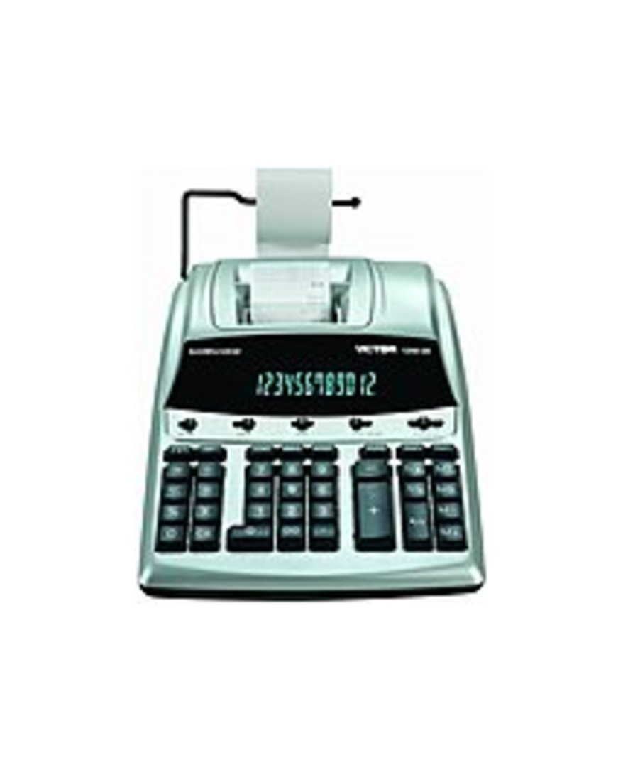 Victor Technology 1240-3A AntiMicrobial Commercial Printing Desktop Calculator - 12-Digit - 2 Color - Silver, Black