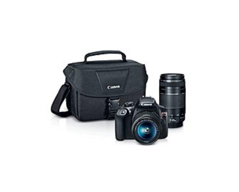 Canon 1159C008 EOS Rebel T6 Digital SLR Camera Kit with EF-S 18-55mm and EF 75-300mm Zoom Lenses - 3-inch LCD Display - Black - 100EOS Shoulder Bag wi