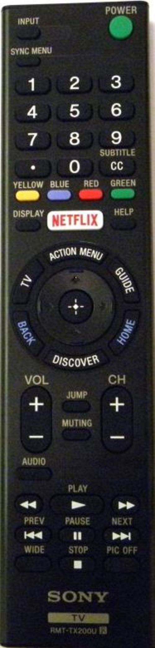 Sony RMT-TX200U TV Remote Control - Battery Required - Black