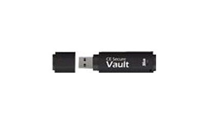CMS Products CE-VAULT-32G-FAR 32 GB CE Secure Vault USB 2.0 Flash Drive - Black