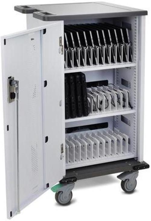 http://www.techforless.com - Ergotron YESBASGMPW4 YES Basic 36 Unit Charging Cart – Metallic Gray, Polar White 887.49 USD