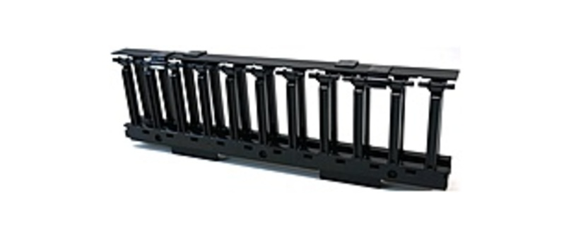 Cooper SB87019S1FB 19-inch Horizontal Cable Manager with Cover - 1-Rack Unit - Rack Mount - 14 Gauge Steel - Black