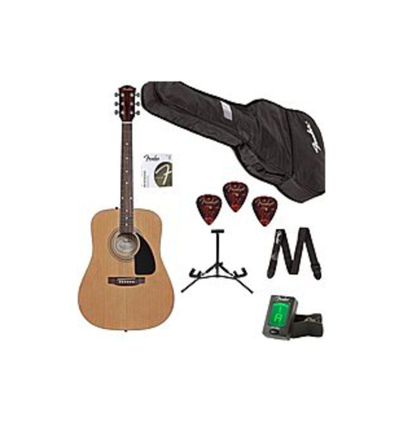 Fender 885978243723 0950818100 Acoustic Guitar FA-100 Beginner Pack - Rosewood Fretboard - 6 Strings - 20 Frets - Natural