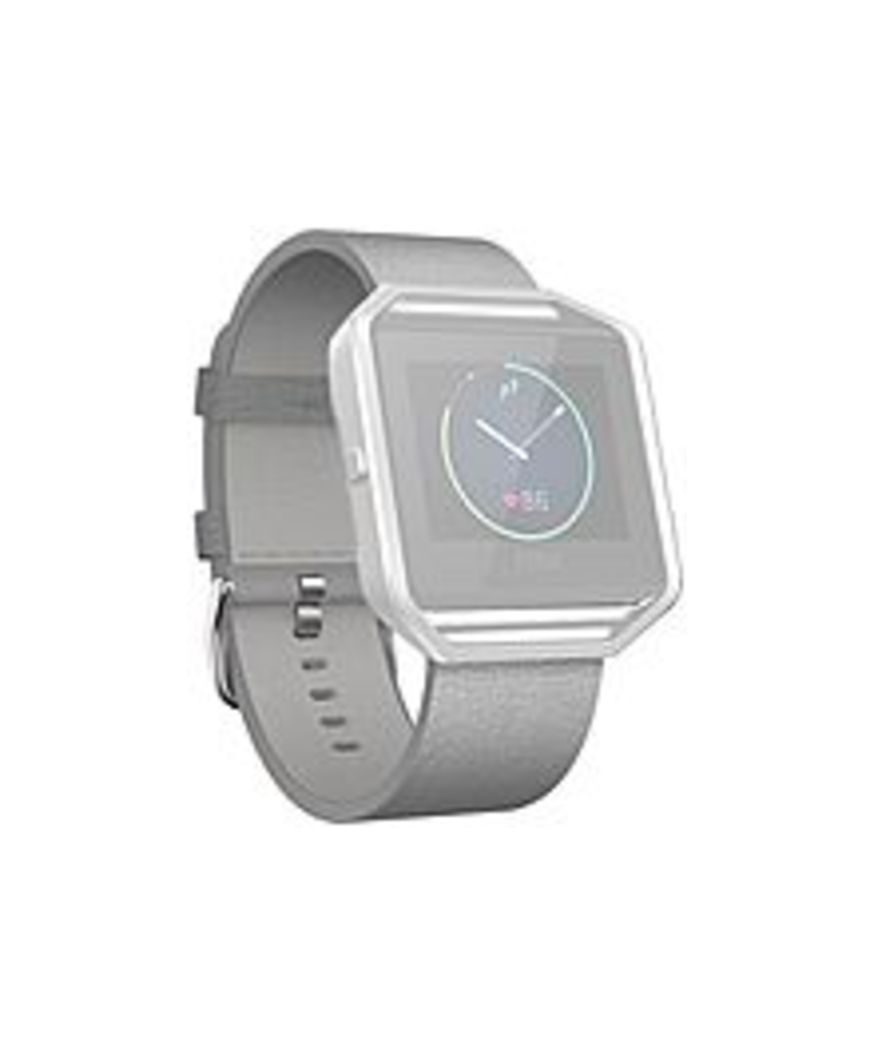 Fitbit Sleep/Activity Monitor Wristband - Mist Gray - Leather, Stainless Steel