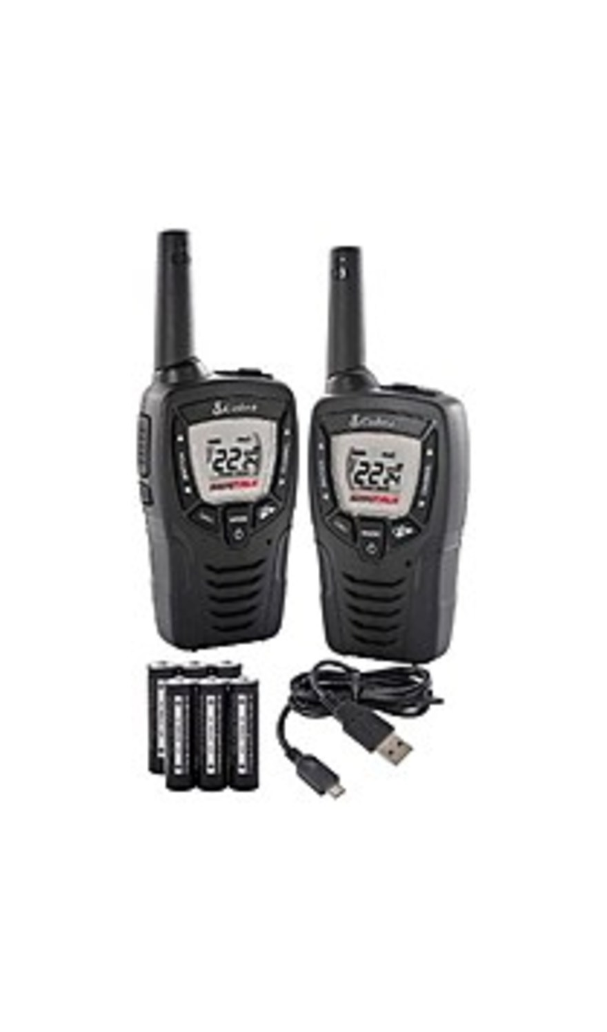 Cobra ACXT345 23-Mile 2-Way Walkie Talkie with Radio - 2 Pack - Black