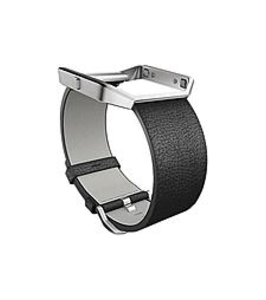 Fitbit Sleep/Activity Monitor Wristband - Black - Leather, Stainless Steel
