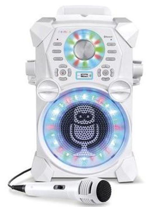 Singing Machine SDL485W REMIX High-Definition Digital Karaoke System with Resting Tablet Cradle and Microphones - White