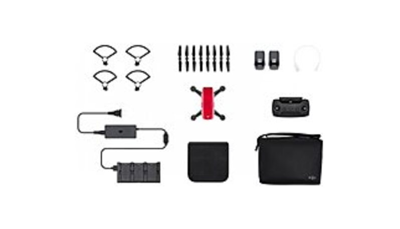 DJI CP.PT.000901 Spark Fly More Quadcopter Combo - 2-Axis Stabilized Gimbal Camera - Lava Red