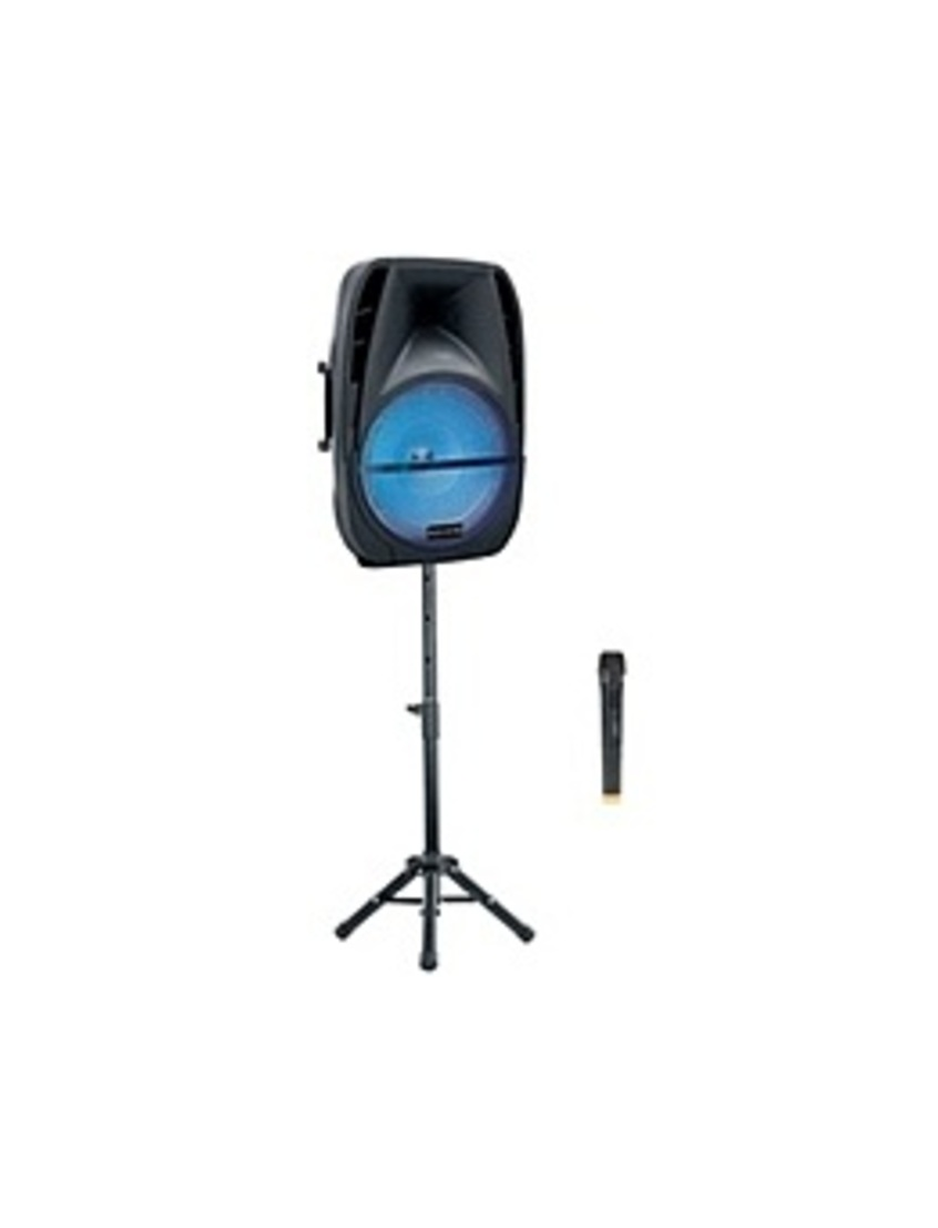 AudioVerse AV-160 15-inch Bluetooth Speaker with RGB Light/Microphone and Stand - Black