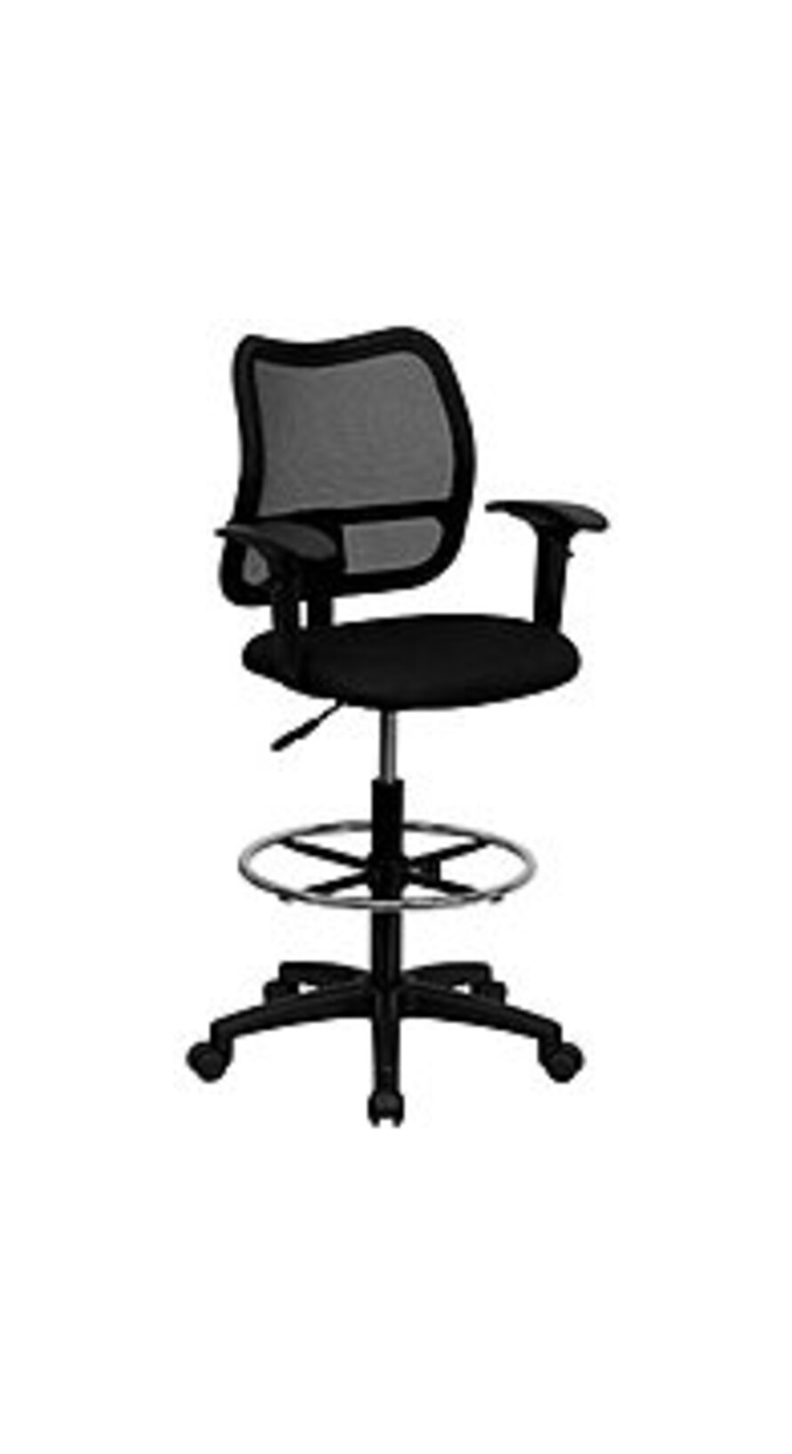 Flash Furniture WL-A277-BK-GG Mid-Back Black Mesh Drafting Chair with Adjustable Arms - Black