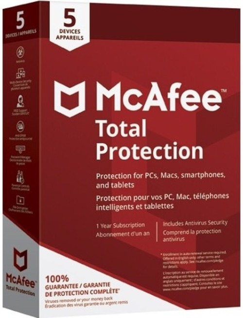 McAfee SecurityCenter MTP00ELP5RAA Total Protection 2018 Software - 5 Devices - 1 Year