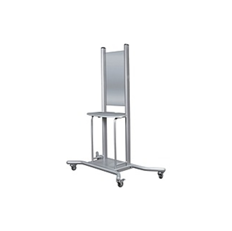 "MooreCo Wall Mount Mobile Stand - 1 x Shelf(ves) - 74"" Height x 58"" Width x 30.3"" Depth - Steel - Platinum"