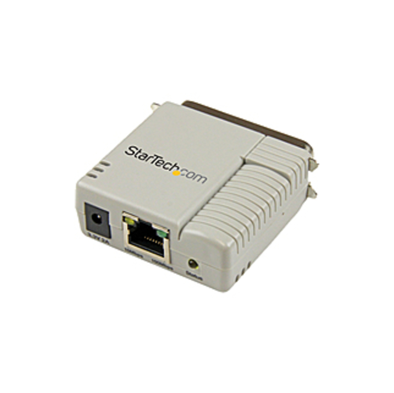 StarTech.com 1 Port 10/100 Mbps Ethernet Parallel Network Print Server - 1 x Network (RJ-45) - Fast Ethernet - External - 100 Mbit/s