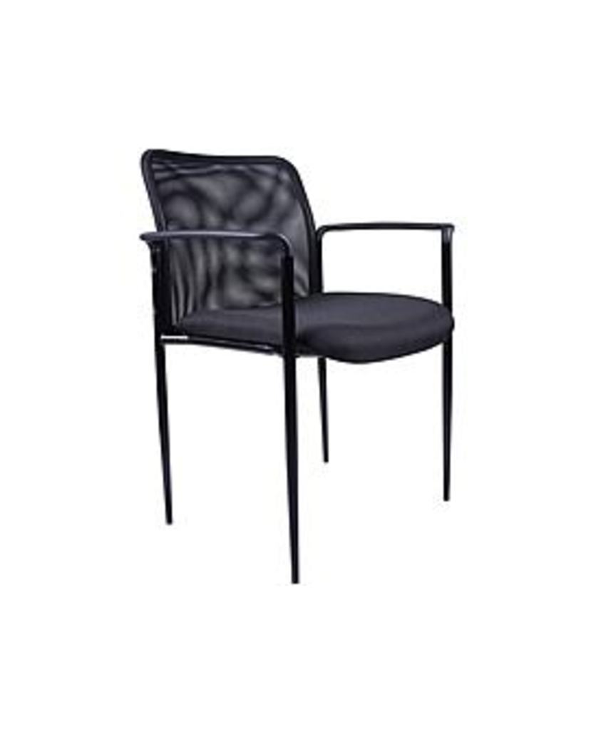 BossChair B6909-BK Stackable Mesh Guest Chair with Arms - Black