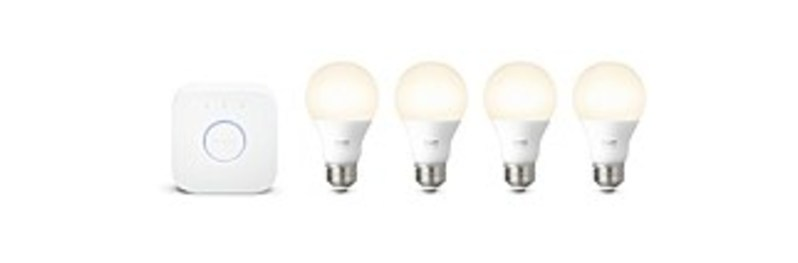 Philips 530360 Hue Warm White A19 LED Starter Kit with Bridge - 4-Pack