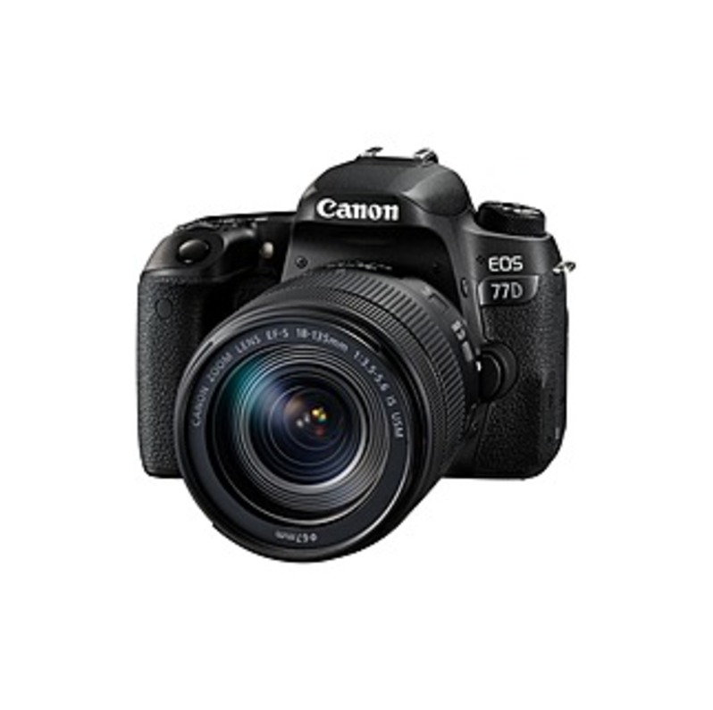 """Canon EOS 77D 24.2 Megapixel Digital SLR Camera with Lens - 18 mm - 135 mm - 3"""" Touchscreen LCD - 16:9 - 7.5x Optical Zoom - Optical (IS) - E-TTL II -"""