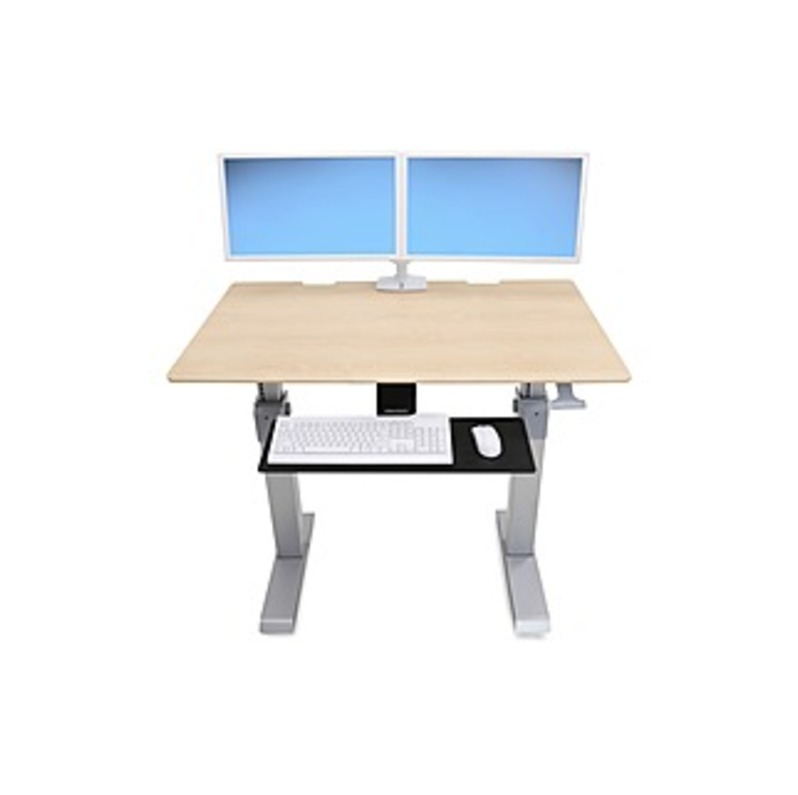 """Ergotron WorkFit-DL 48, Sit-Stand Desk (Maple) - Maple Rectangle Top - 2 Legs - 48"""" Table Top Width x 29"""" Table Top Depth - 51.30"""" Height - Assembly R"""