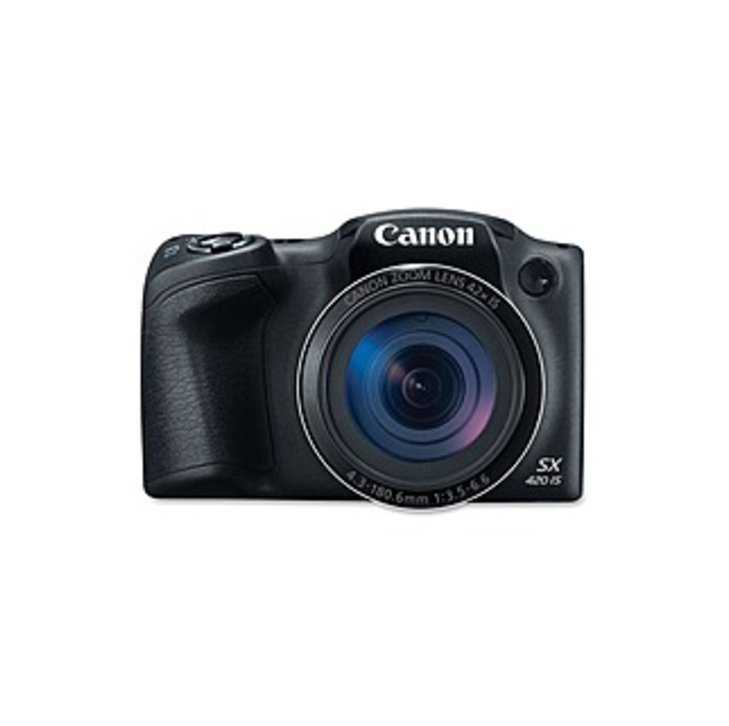"Canon PowerShot SX420 IS 20 Megapixel Compact Camera - Black - 3"" LCD - 42x Optical Zoom - 4x Digital Zoom - Optical (IS) - 5152 x 3864 Image - 1280 x"